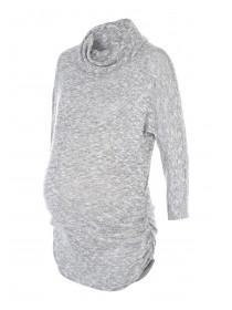 Womens Maternity Marl Roll Neck Tunic