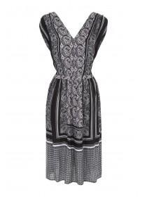 Womens Black Paisley Placement Dress