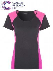 Womens Grey Colour Block Active T-Shirt