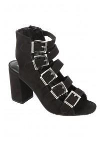 Womens Buckle Heel Flare