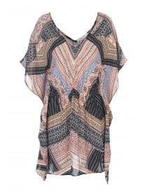 Womens Black Printed Placement Kaftan