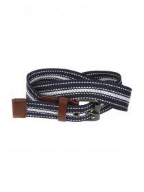 Mens Blue Striped Casual Webbing Belt