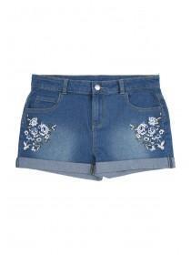 Older Girls Blue Floral Embroidered Denim Shorts