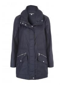 Womens Dark Blue Zip Coat