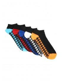 Mens 5PK Black Checker Trainer Socks