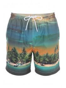 Mens Orange Sunset Swim Shorts