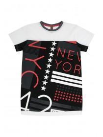 Older Boys Black Mesh Panel NY T-Shirt