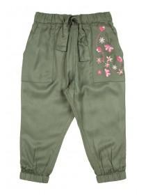 Younger Girls Khaki Embroidered Trousers