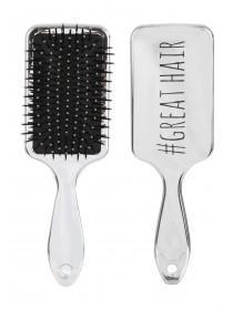 Womens Silver Shiny Paddle Brush