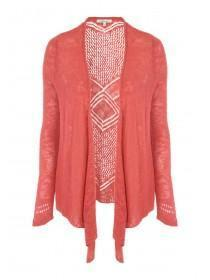 Womens Orange Waterfall Cardigan