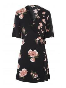 Womens Black Tea Wrap Dress