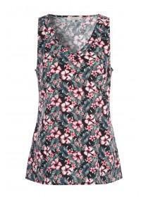 Womens Black Tropical Viscose Vest