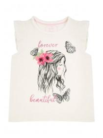 Younger Girls Butterfly Slogan T-Shirt