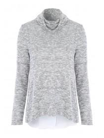 Womens Grey Split Back Chiffon Top