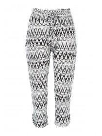 Womens Black Aztec Cropped Trousers