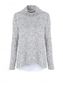 Womens Grey Chiffon Layer Top
