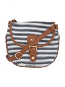 Womens Dark Blue Striped Crossbody Canvas Bag