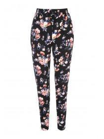 Womens Black Floral Jersey Trousers