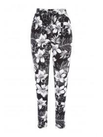 Womens Black Hibiscus Jersey Trousers
