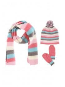 Younger Girls 3  Piece Knitted Stripe Set