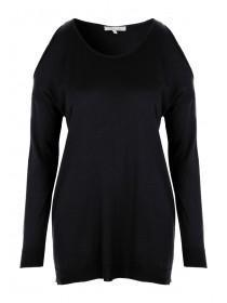 Womens Black Cold Shoulder Jumper