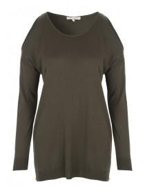 Womens Khaki Cold Shoulder Jumper
