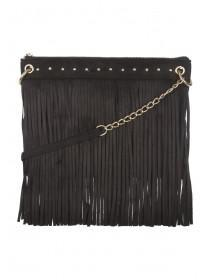 Womens Black Crossbody Tassle & Stud Bag