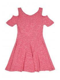 Younger Girls Cold Shoulder Ribbed Dress