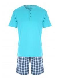 Mens Teal Woven Top & Short Pyjama Set