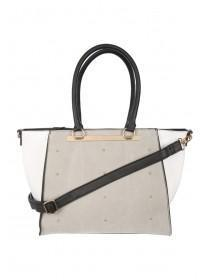 Womens Grey Studded & Embroidered Tote Bag