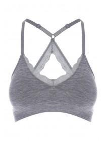 Womens Grey Lace Back Seamfree Crop Top