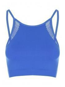 Womens Blue Seamfree Fishnet Crop Top