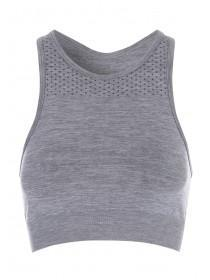 Womens Grey High Neck Seamfree Sports Bra