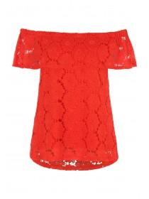Womens Red Lace Bardot