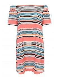 Womens Striped Bardot Dress