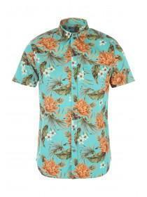 Mens Green Floral Hawaiian Shirt