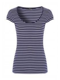 Jane Norman Navy Stripe Frill Sleeve Top