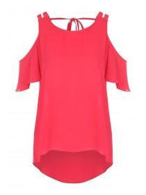 Womens Pink Double Strap Cold Shoulder Top