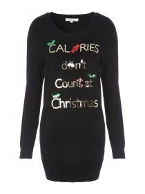 Womens Embellished Long Line Xmas Jumper