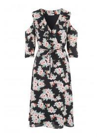 Womens Black Cold Shoulder Ruffle Midi Dress