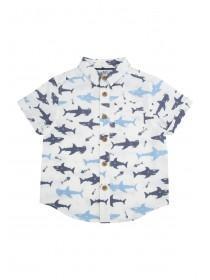 Younger Boys White Shark Print Shirt