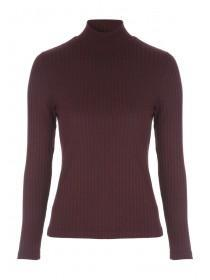 Womens Long Sleeve Skinny Rib Roll Neck