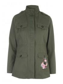 Womens Khaki Embroidered Utility Jacket