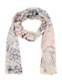 Womens White Sketched Rose Pashmina Scarf