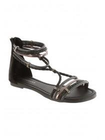 Womens Black Opentoe Strappy Sandals