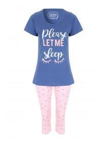 Womens Light Blue Pyjama Leggings Set