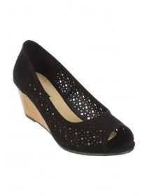 Womens Black Peeptoe Wedge Heel