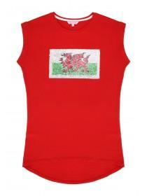 Older Girls Red Sequined Wales T-Shirt