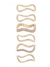 Womens Gold Wavy Stack Rings