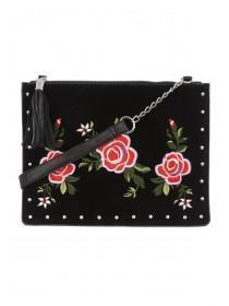 Womens Black Embroidered And Studded Crossbody Bag